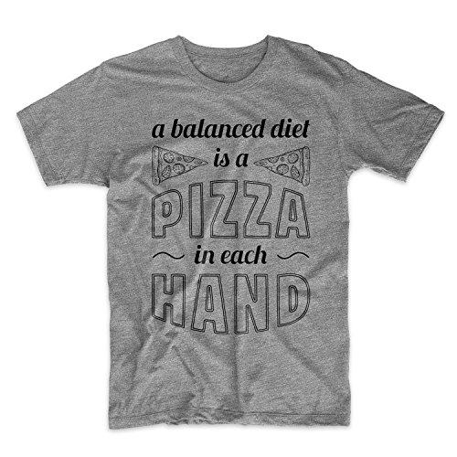 A Balanced Diet Is A Pizza In Each Hand Komisch Food Herren T-Shirt Grau