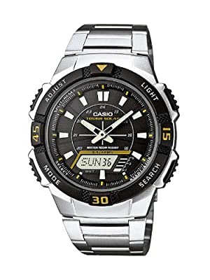 Casio Collection Men-digital de caballero de cuarzo con correa de acero inoxidable plateada (alarma, cronómetro, luz, solar) - sumergible a 100 metros