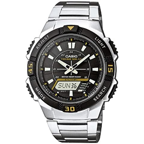 Casio CASIO Collection Men - Reloj analógico - digital de caballero de cuarzo con correa de acero inoxidable plateada (alarma, cronómetro, luz, solar) - sumergible a 100