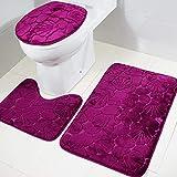 Tapis de sol pour salle de bains Set 3 PCS motif de flanelle en 3D ultra doux pour salle de bain Tapis de bain antidérapant pour salle de bains Tapis + couvercle Couvercle de toilette + Tapis de bain