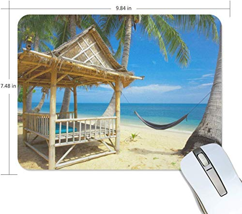 Exotische Bamboo Hut Tropical Beach Rectangle Mauspad Griffige Gummi Gaming Mouse Pad 7.9x9.5 Zoll