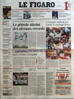 FIGARO (LE) [No 18934] du 20/06/2005 - SPECIAL VIN - DE 5 A 65 EUROS, LES QUARANTE MEILLEURS BORDEAUX - LE FIGARO ENTREPRISES & EMPLOI - LES DIX COMMANDEMENTS DU TELETRAVAIL - 3 000 OFFRES D'EMPLOI - FORMULE 1 - MICHELIN PROVOQUE LES CHAOS AU GRAND PRIX D'INDIANAPOLIS LA MISE EN GARDE DE MADRID PAR MICHEL SCHIFRES - UN COUAC DANS LE VOYAGE DE CONDI RICE EN ISRAEL - IRAN - LES REFORMATEURS EXCLUS DES LE PREMIER TOUR - OUTRE-MER - BAROIN VEUT UN PACTE DE CONFIANCE - SECHERESSE - NOUVELLES RESTRI