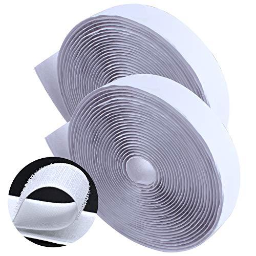 Klettband, Wisolt wiederverwendbare, stark haftende Verschlussrolle, selbstklebendes Klebeband, doppelseitiges Klebeband, (2,5cm x 5m) - Weiß