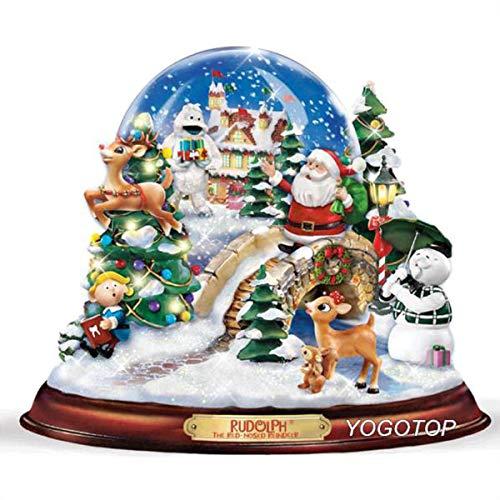 MXJSUA 5D DIY Diamant Malerei nach Anzahl Kit Runde Dril Perlen Kristall Strass Stickerei Kreuzstich Bild liefert Kunst Handwerk Wandaufkleber Dekor Weihnachten Hund 12x16In
