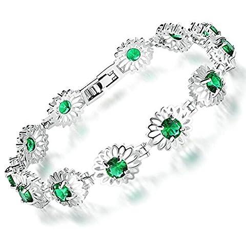 Bishiling Modeschmuck Armband Damen Legierung Kamelie Blume Grün Zkronia Charm Armbänder Länge (1 Oval-türkis-armband)