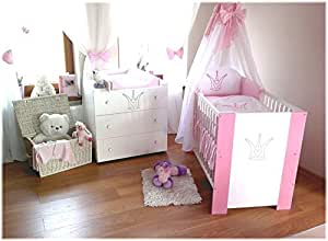 kinderbett baby krone rosa incl wickelkommode lattenrost matratze bettw sche komplettset 12. Black Bedroom Furniture Sets. Home Design Ideas