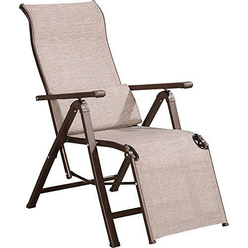 Sedia Pieghevole per Il Tempo Libero Poltrona per Sdraie Sedia da Ufficio Sedia da Spiaggia Sedia A Sdraio, 2 Colori, Portata 200 kg (Colore : Khaki)