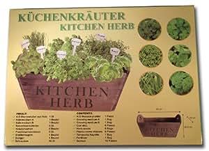 Küchenkräuter Komplettset - 6 Kräuter im Blumenkübel/Pflanzkasten aus Holz - für Küche, Balkon, Terrasse oder im Garten - auch eine tolle Geschenk-Idee
