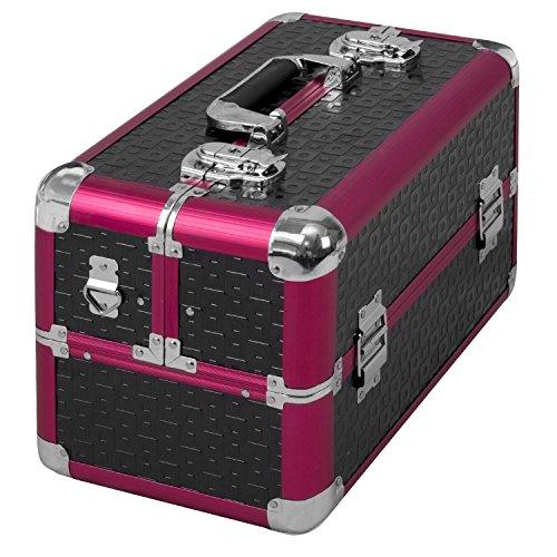 anndora Beauty Case Kosmetikkoffer Schminkkoffer Werkzeugkoffer Schwarz Rot Karo - 2