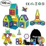 Theefu Bloques de Construcción Magnéticos Set Arco Iris con 100 Piezas Inspira Set Estándar de Construcción - Juguetes Creativos y Educativos - Bolsa de Almacenamiento