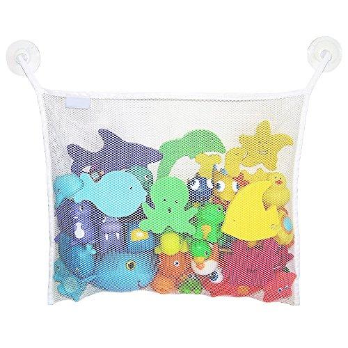 d Spielzeug Organizer Mesh Lagerung Hängen Tasche + 2 Haken Saugnäpfe WeißCarry Stone ()
