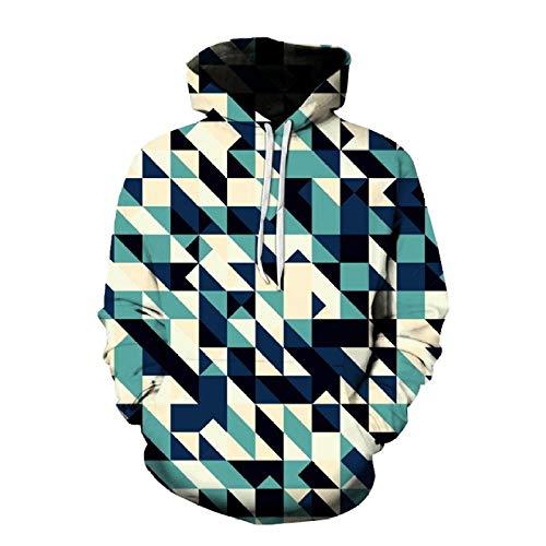 JJHR 3D Hoodie Sweatshirts Lässige Kapuzenpullover Mit Kapuze Und Geometrischem Digitaldruck, Lose Mantelbluse, 5XL