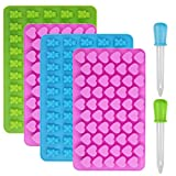 Candy Silikon Formen & Ice Cube Schalen, yucool 4Pack Gumdrop Jelly Formen, Schokolade Formen, Gummibär Candy Formen mit 2Bonus-Tropfenform–Herz, Bär