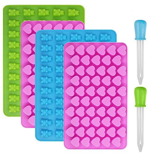 Silikon-Schokoladen- und Eiswürfelformen von YuCool, 4 Stück mit Herzen und Bären, mit 2 Pipetten, für Gelee, Schokolade, Gummibärchen, Süßigkeiten