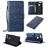 pinlu Étui pour Huawei Honor 8 Haute Qualité Ultra-Mince Etui avec Slot Pochette Portable Flip Wallet Housse Similicuir Portefeuille Éléphants Navy Bleu foncé
