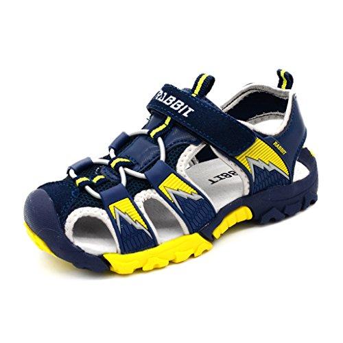 Bwiv sandali estivi a strappo ragazzo con solette foderate di pelle sandali sportivi antiscivolo bambino blu scuro e giallo 26,5/27 eu