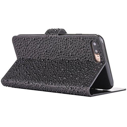 Hülle für iPhone 7 plus , Schutzhülle Für iPhone 7 Plus Raindrops Pattern Horizontale Flip Leder Tasche mit Halter & Card Slots ,hülle für iPhone 7 plus , case for iphone 7 plus ( Color : Pink ) Black