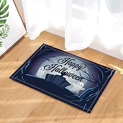 FEIYANG Happy Halloween Decor Cartoon Ghost auf Grabstein in Waldbad Teppiche Rutschfeste Fußmatte Boden Eingänge Indoor Haustürmatte Kinder Badmatte 50x80cm Bad-Accessoires (Grabsteine Cartoon Halloween)