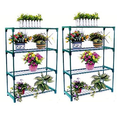 SavingPlus Double 4Etagen Stahl Mini Garden Gewächshaus Regal Pflanzenständer