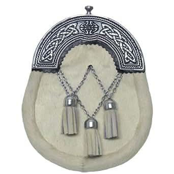 sporran en peau de vache fermoir maill motifs celtiques cha nettes pompons blanc. Black Bedroom Furniture Sets. Home Design Ideas