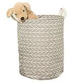 Nibesser Panier à Linge Pliable en Tissu Organisateur Imprimee Animal Dessin pour Vetement sale Sac pour Stockage de Jouets (35*45cm, gris)