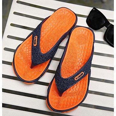 Slippers & amp da uomo;Comfort PU Primavera Casual Verde Rosso Arancione piatto, sandali di Ruby sandali Orange