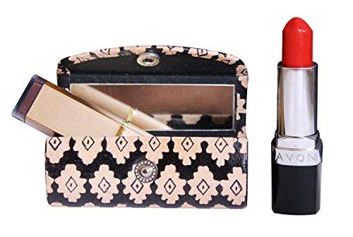 The storeking porta rossetto custodia in cuoio–borsa organizer per purse- lipstick holder- durevole in morbida pelle–cosmetici storage kit con specchio (bianco e nero)