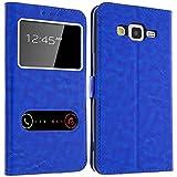 Gemtoo® Etui Coque Housse avec FENETRES pour Samsung Galaxy Grand Prime - Plusieurs Couleurs Disponibles (Galaxy Grand Prime) (Bleu)