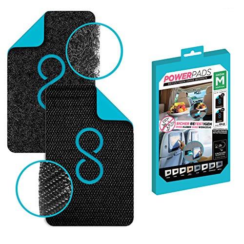 POWERPAD BLACK | SET M >> 1x FLAUSCH + 1x HAKEN + BOX [M: 92x55mm] || Befestigen ohne Bohren - stärker als doppelseitiges Klebeband, wiederverwendbar, kein Kleben, kein Werkzeug, innen/außen
