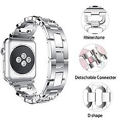 Idea Regalo - [tipo D] Apple Watch strap 38mm & 42mm Band, Xihama scintillante Bling cristallo STRASS diamanti iWatch cinghie braccialetto di ricambio in acciaio inossidabile accessori per Apple Smart Watch Series 1, 2, 3