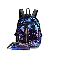 Abuyall Girls Sequin Backpack Glitter Bling Rucksack For School Women Sparkle Casual Daypack Set With Pencil Case Pt3