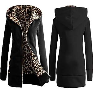 Derrick Aled(k) zhuke Gepolsterter Leopardenpullover mit Kapuze für Damen im Herbst und Winter sowie große Jacke aus Samt