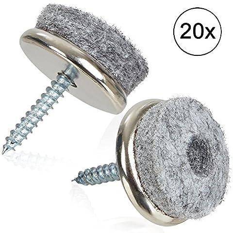 PRETEX 20 Filzgleiter (Ø 22 mm) in grau zum Schrauben (Kreuzschlitz) | mit 2 Jahren Zufriedenheitsgarantie | Parkettgleiter, Stuhlgleiter, Möbelgleiter