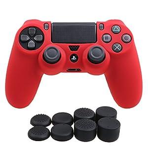 YoRHa Silikon Hülle Abdeckungs Haut Kasten für Sony PS4/slim/Pro Controller x 1 (rot) Mit Pro aufsätze thumb grips x 8