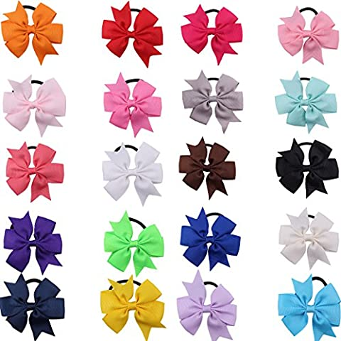 20Pcs Girls Grosgrain Ribbon Boutique Bows Hair Pony Tail Band Elastic Ponytail Holders Hair Bobbles For Child Teens Toddlers kids