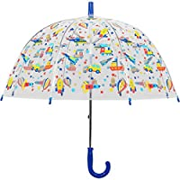 Kids Transport Print Clear Transparent Dome Umbrella