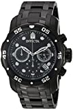 Invicta Men's Pro Diver Quartz Watch with Black Dial Chronograph Display and Black Stainless Steel Plated Bracelet 0076