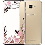 MOONCASE Galaxy A3 2016 Étui Clair Ultra-Mince Silicone Gel Housse [Secret Garden] Papillon Bling Glitter Coque de protection TPU Case pour Samsung Galaxy A3 (2016) A310 -Rose et Rose Fleur