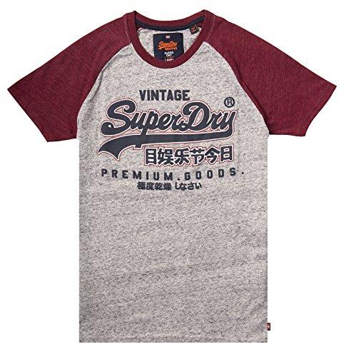 Superdry Herren T-Shirt Premium Goods Raglan Tee Grey Grit / Rust Red