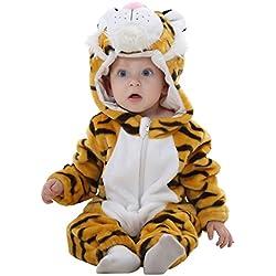 MICHLEY Bebé ropa Niños Niñas disfraces primavera Franela Traje animales Pelele laohu-70cm