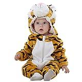 MICHLEY Baby mädchen und junge Flanell Frühling Strampler Pyjama kostüm Bekleidung Karikatur Tier Jumpsuit Spielanzug Schlafanzug ( Tiger 90 )