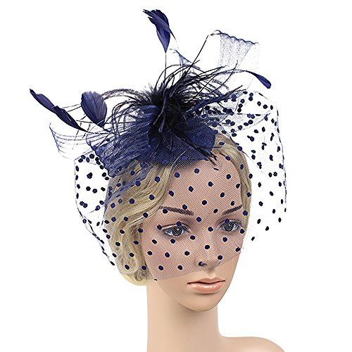 UJUNAOR Mode Hochzeit Frauen Fascinator Hut Penny Bänder Federn Party Mützen Braut Kopfschmuck(Blau)