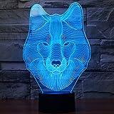 Lobo 3d Lámpara LED óptico Engaños Luz Nocturna, Yunplus 7 Cambio de Color Con Acrílico Flat & ABS Base & USB Cargador de Cambiar Toca Lámpara de Escritorio Lámpara de Mesa