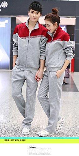 WTUS Femme Jogging Survêtement Blouson Pantalons Couple Sweat rouge1
