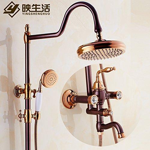 Qwer amerikanischen Orb antiken Duschen Kit Continental Cu alle Badezimmer Heiße und kalte Dusche Wasserhahn Rose Gold