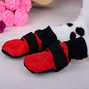 Ultra Paws Rugged Dog Boots Breathable Water Resistant Pet Shoes with Soft Nonslip Soles - Red, S/M/L/XL