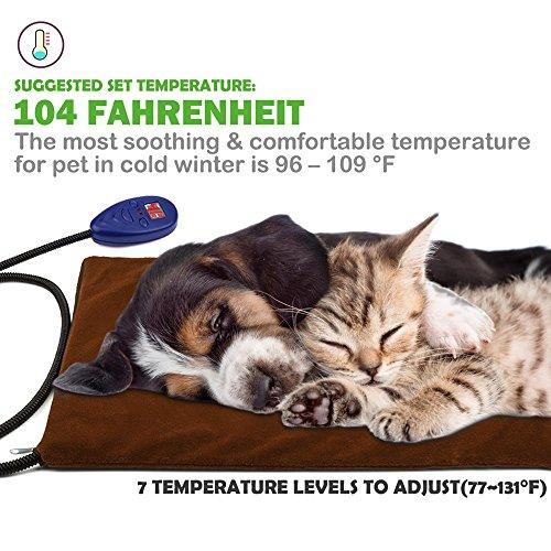Heizmatte für Haustiere Wasserdicht Wärmematte Wärmer Beheizte Pet Mat Haustier Katze Hund Heizdecke 7 Temperaturstufen für Hunde und Katzen mit Anti-Bite Schnur von Zuoao