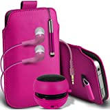 ONX3 Acer Liquid E3 Protective PU (hot pink)Leather Pull Cord Slip In Pouch Quick Release Case With Mini Capacitive Retractable Stylus Pen, 3.5mm In Ear Earphones, Mini Rechargeable Capsule Speaker