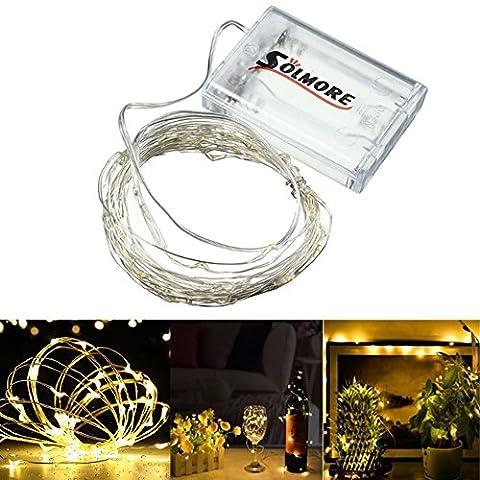 SOLMORE LED Lichterkette Warmweiß 5m Außen/Innen Stern Beleuchtung String Silber