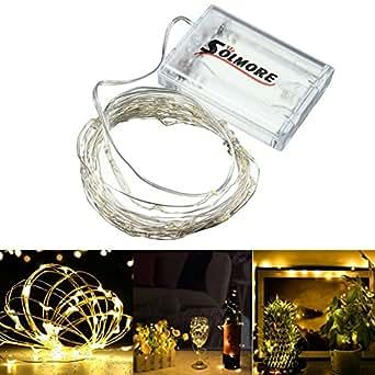 SOLMORE 5M stringa fata luce 5m 50 LED String luce Luce di Natale luci della stringa per la decorazione casa matrimonio Natale partito Silver filo della lampada